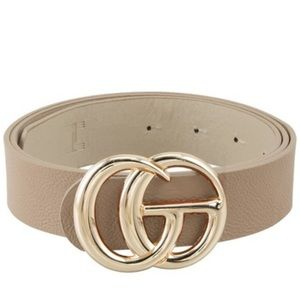 Taupe Faux Leather Belt GO